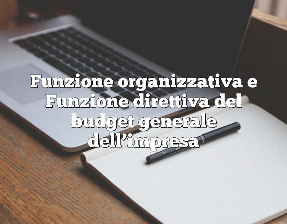 Funzione organizzativa e Funzione direttiva del budget generale dell'impresa