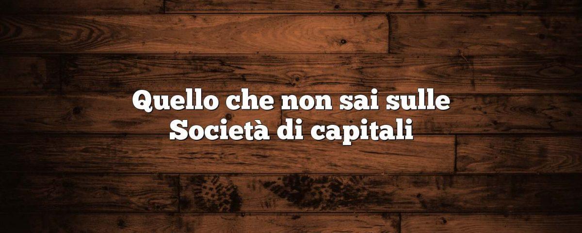 società di capitali quali sono