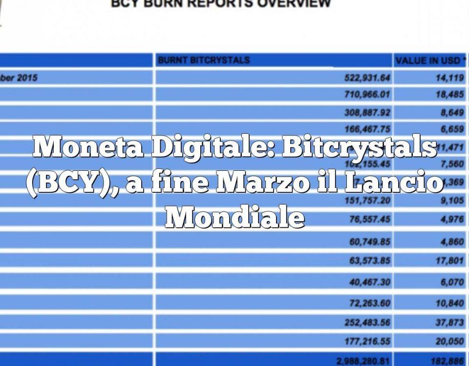 Moneta Digitale: Bitcrystals (BCY), a fine Marzo il Lancio Mondiale