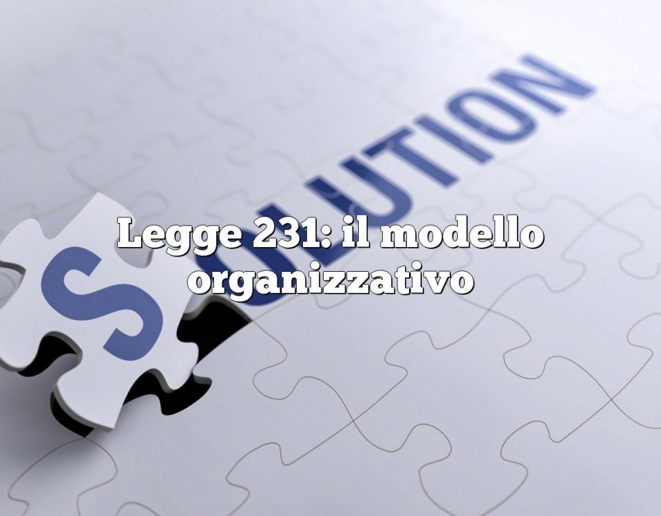 Legge 231: il modello organizzativo