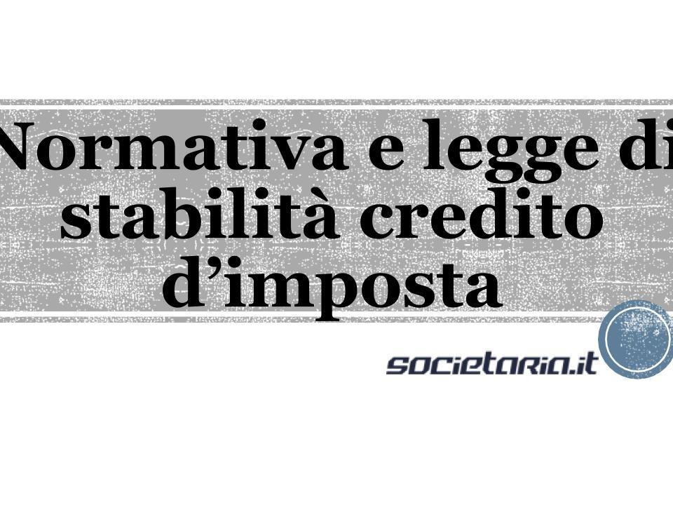 Normativa e legge di stabilità credito d'imposta
