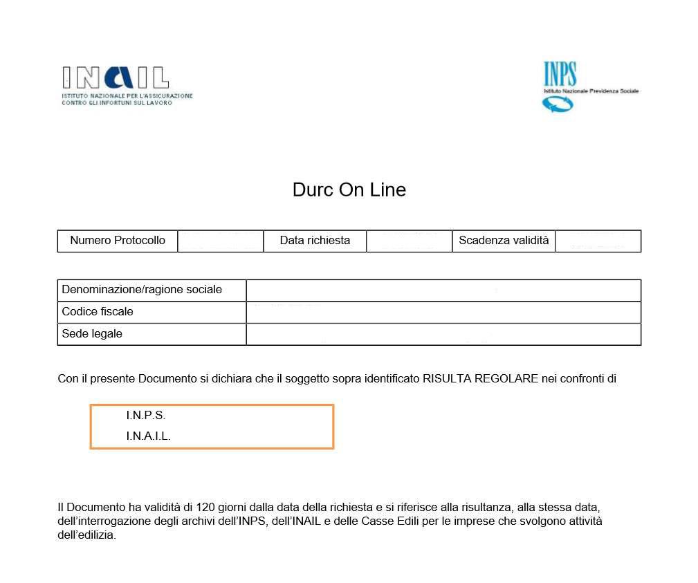 DURC regolare esempio